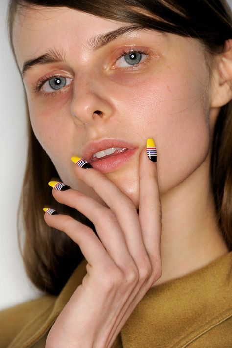 Striped nail art // Opening Ceremony Fall 2015