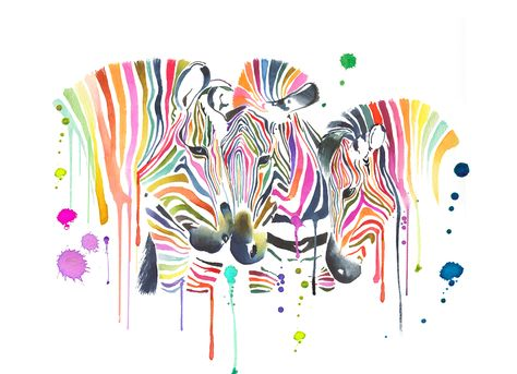 Beautiful Zebras By Www Spelldesigns Co Uk Aquarelle