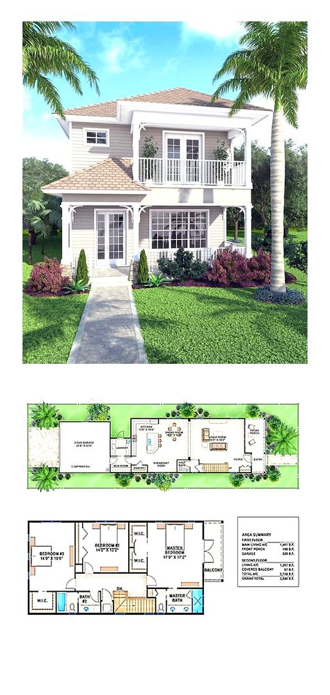 , 3 bedrooms and bathrooms. New House Plan 52908