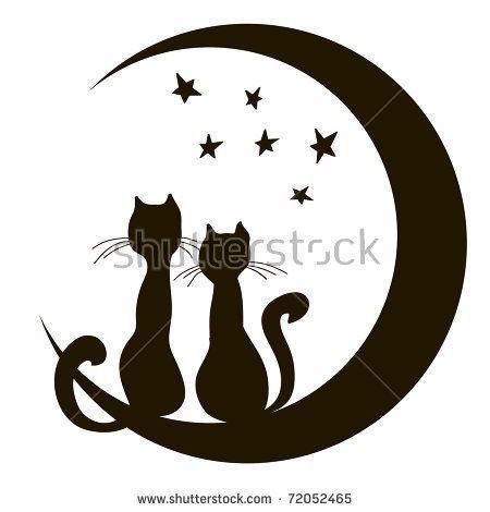 Katzen Auf Dem Mond Ein Liebendes Paar Traume Liebe Schmerz Indiskret Auf Dem Ei Katzen Silhouette Scherenschnitt Vorlagen Illustration Katze