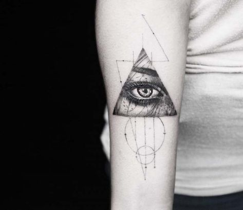 Awesome black and grey tattrx tattoo style of Triangle Eye motive done by tattoo artist Alessandro Capozzi