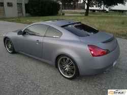 Matte Grey Metallic Body With Carbon Fiber Hood Roof And Mirrors Infiniti G37 Coupe Infiniti G37 Infiniti Vinyl Wrap Car