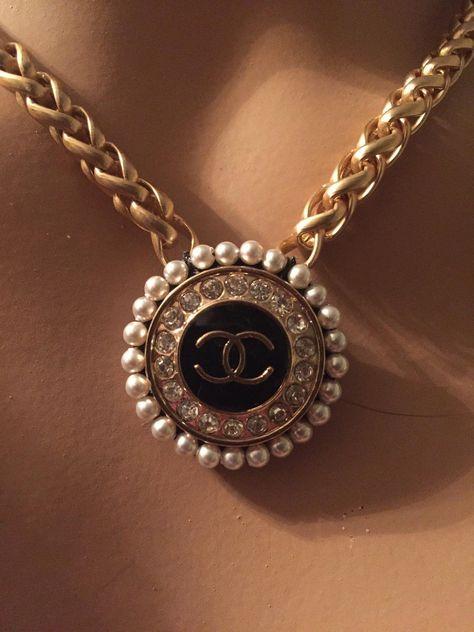 Designer Button Necklace, Gold, Black & Bling (only 1 left!