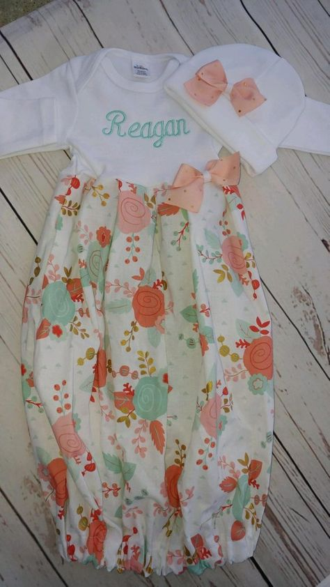 0155bddef Baby girl gown - baby girl going home outfit - take home - newborn ...