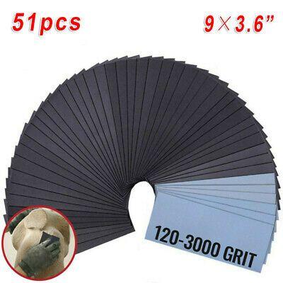Ebay Advertisement 51pcs Wet Dry Sandpaper 120 240 800 3000 320 400 600 Grit 9 3 6 For Polishing Sandpaper Wet Ebay