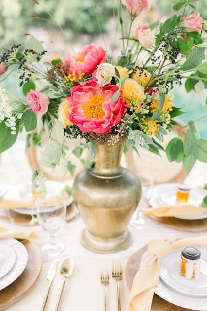Close Up Of Honey Inspired Tablescape Bright And Colorful Fun
