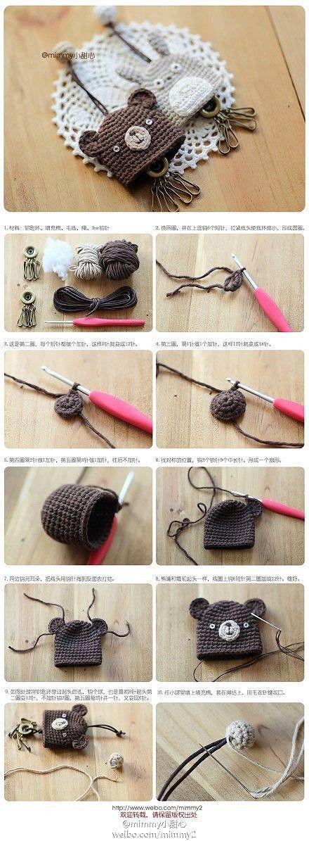 Tutoriales y DIYs: Amigurumi - Guardar llaves - Oso y Totoro