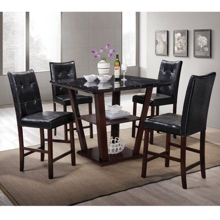 Home Source Lower Storage Faux Marble Square Dining Set Primitivediningrooms Dining Table With Storage Counter Height Dining Table Pub Table And Chairs