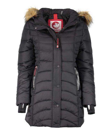 Canada Weather Gear Black Long Faux Fur Hood Satin Puffer Jacket Women Plus Zulily Faux Fur Hood Puffer Jacket Women Jackets For Women