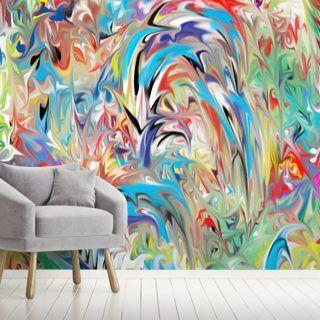 Color Fountain Wall Mural Wallsauce Us In 2020 Mural Wallpaper Abstract Wallpaper Mural