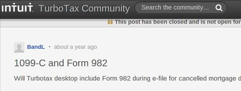 Will Turbotax desktop include Form 982 during e-file for cancelled ...