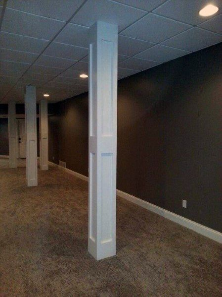 Top 50 Best Basement Pole Ideas Downstairs Column Cover Designs Basement Poles Small Basement Remodel Basement Remodeling