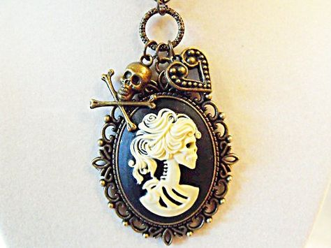 Bronze Cameo Necklace,   Gothic Lolita Cameo Pendant Necklace. Day Of the Dead  With Charms Womens G