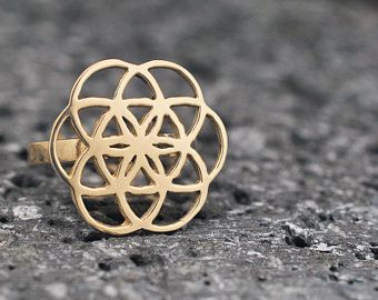 Seed of life the symbol is flat, Ring in gold 18k or 14k, FREE SHIPPING to US by Fedex