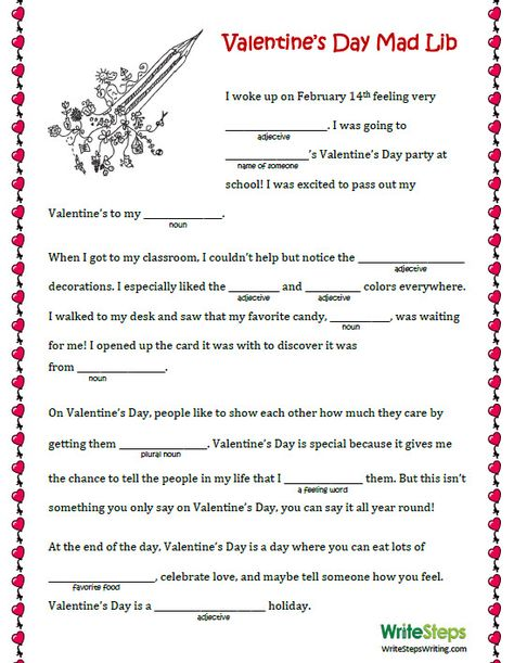 4 Ideas to Encourage Writing This Valentine's Day. Check out the #ValentinesDay Mad Lib