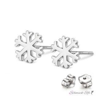 1 Paar Ohr Stecker Schneeflocke klein 925 Silber massiv...