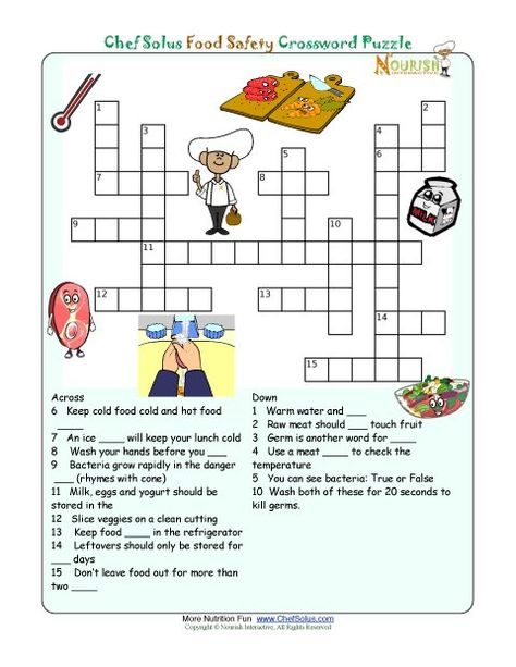 A Great Activity For Little Kids Printable Nutrition Crossword
