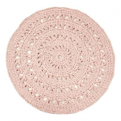 tapis rond crochet rose poudr naco design enfant - Tapis Rose Poudre