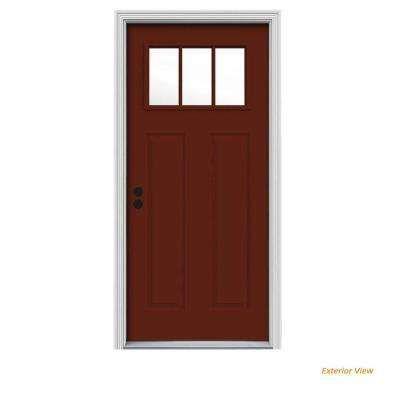 32 X 80 Right Hand Inswing 1 4 Lite Doors With Glass Steel Doors The Home Depot Exterior Doors Craftsman Front Doors Exterior Front Doors
