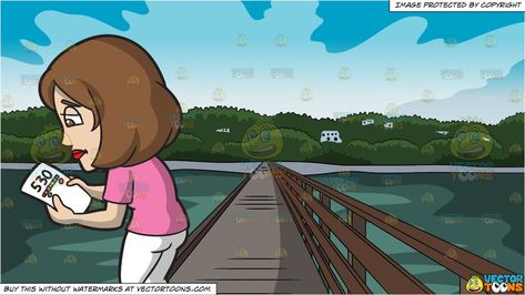 A Woman With A Bad Credit Score and Bridge Leading To An Island Background