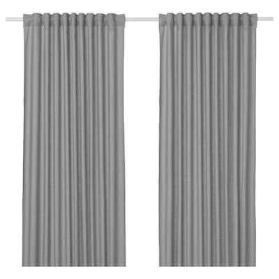 Hilja Curtains 1 Pair Gray Ikea In 2020 Curtain Rods