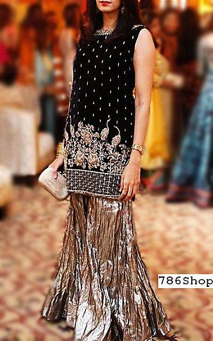 7385e6145f7a Black/Silver Chiffon Suit | Buy Pakistani Fashion Dresses and Clothing  Online in USA, UK