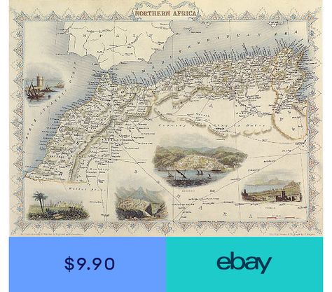 1800S MAP NORTHERN AFRICA MAROCCO ALGERIA REPRO POSTER | Products