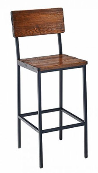 Reclaimed Wood Bar Stool Industrial Steel Frame Optional