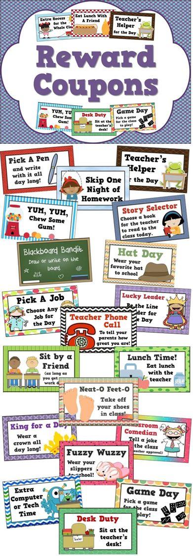 Reward coupons for positive behavior management - 25 different student incentives!
