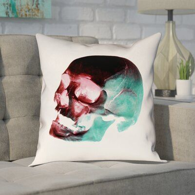 Brayden Studio Enciso Skull Pillow Cover Colour Red Blue Black White Size 20 X 20 Skull Pillow Pillow Covers Floral Throw Pillows