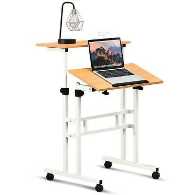2 In 1 Height Adjustable Sit Mobile Standing Computer Desk Workstation 4 Wheels Affil Adjustable Computer Stand Computer Stand For Desk Adjustable Height Desk