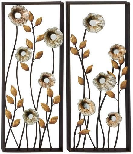 Benzara 54492 Set Of 2 Beautiful And Elegant Metal Wall Decorative Metal Wall Flowers Wall Decor Set Metal Wall Decor