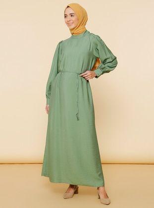 خضر فاتح قبة V نسيج غير مبطن فيسكوز فستان Viscose Dress Dresses Fashion