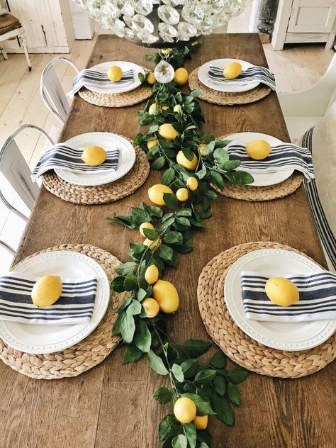 Summer Lemon Farmhouse Dining Room - Liz Marie Blog