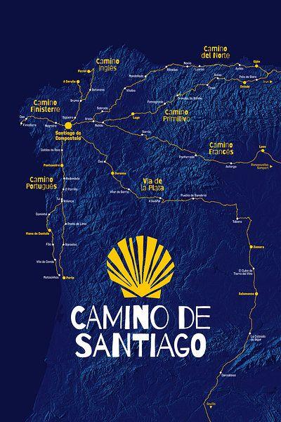Camino De Santiago Kaart Sint Jacobsroute Van Viamapia Op Canvas Behang En Meer Camino De Santiago Santiago Hike Adventure