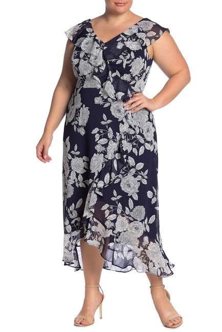 London Times Ruffle Wrap Maxi Dress Plus Size Nordstrom Rack In 2020 Maxi Wrap Dress Plus Size Dresses Plus Size Maxi Dresses