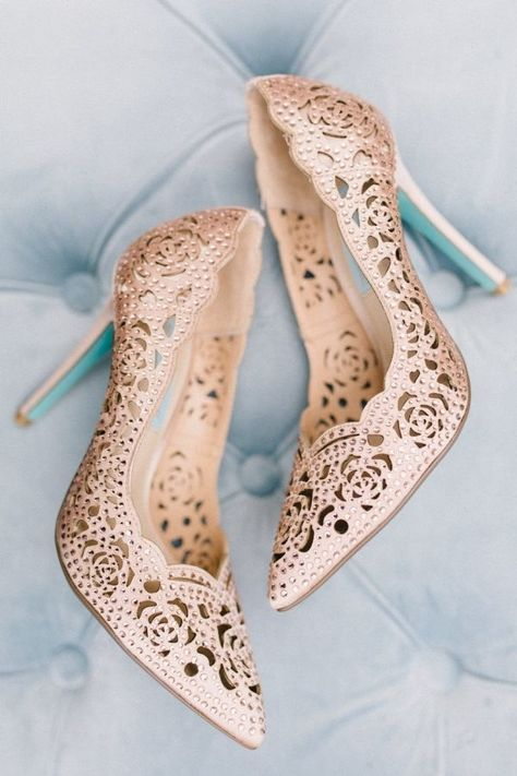 These 13 Real Brides Wore The Coolest Shoes Rose Gold Wedding Shoes Gold Wedding Shoes Wedding Shoes