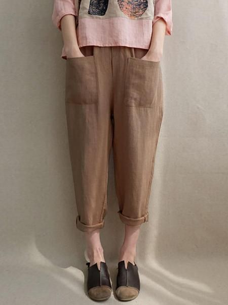 Casual Pockets Cotton Solid Plus Size Pants Linen Cotton Bottoms Long Linen Pants Linen Pants Cotton Pants