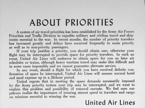 Photographic Print: The United Airlines Priority Slip Informing Passengers of Current Traveling Conditions : 24x18in