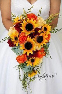 Cascading Wedding Flower Brides Bouquet With Sunflowers Orange