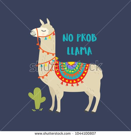 Cute cartoon llama vector design with No prob llama