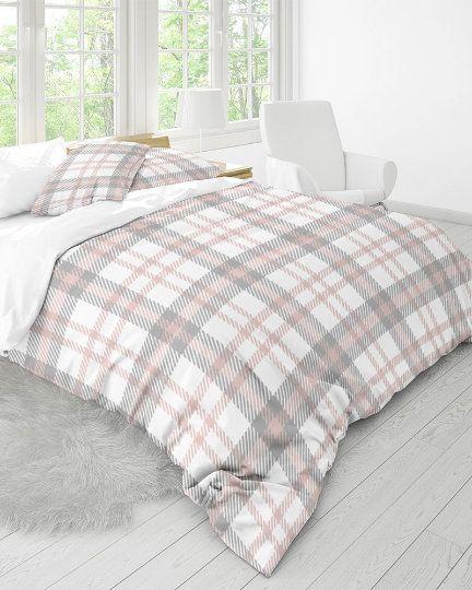 Pink Gray Plaid Duvet Cover Set Pastel Buffalo Check 100 Etsy Duvet Cover Sets Country Bedroom Decor Blush Grey Bedroom