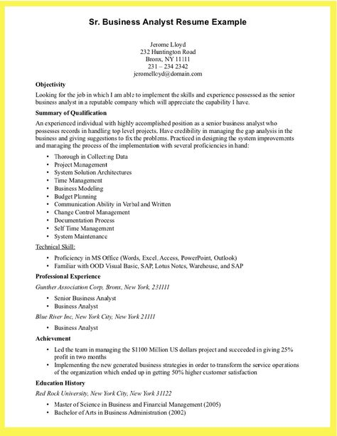 Resume Of Business Analyst. Click Here To Download This Business