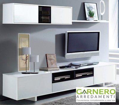 Parete Attrezzata Belle Bianco Nero Mobile Soggiorno Tv Design Base Pensili Sala Parete Attrezzata Mobili Soggiorno Arredamento Salotto Idee