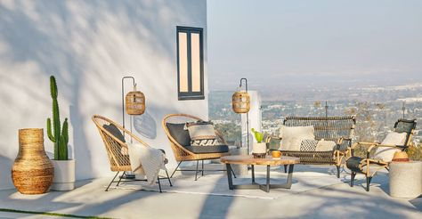 Bori Black Lantern Stand from @Article beautiful, modern outdoor living space. Article offers high-quality furniture at a great price and is designed to last, plus they're shipping with Contactless Delivery right now to ensure everyone stays safe! #AD