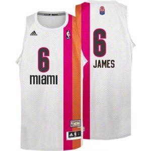 4a654a044 Camiseta Miami Heat - James blanca con linea bicolor www.basket3c ...