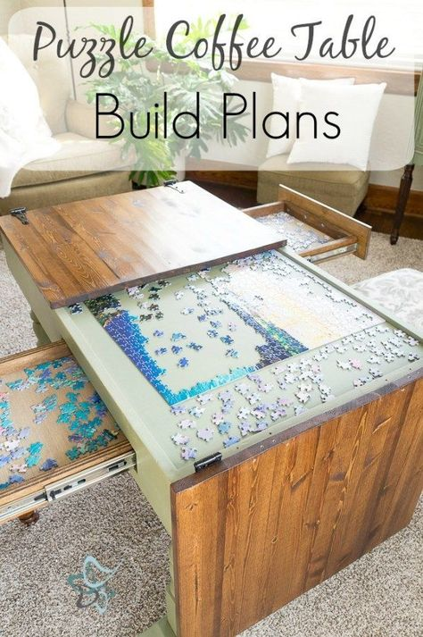 Purchase the Puzzle Table build plans or subs cribe to our email list if you are interested in a pre-built puzzle coffee table. by DeDeBailey Furniture Projects, Home Projects, Home Furniture, Business Furniture, Outdoor Furniture, Plywood Furniture, Best Diy Projects, Bedroom Furniture, Furniture Design