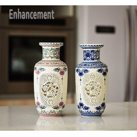 Arrival Jingdezhen Ceramic Vase Chinese Pierced Vase Wedding Gifts Home Handicraft Furnishing Articles