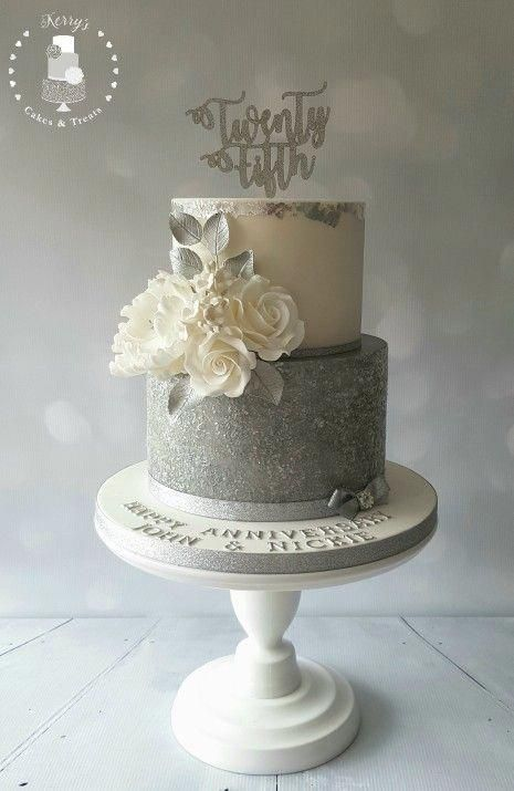 Silver Sparkly 25th Wedding Anniversary Cake With Sugar Roses Leaves In 2020 25th Wedding Anniversary Cakes Silver Wedding Anniversary Cake Wedding Anniversary Cakes