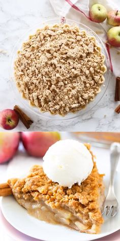 Apple Crumble Pie is made with a tender crust that is filled with juicy, spiced apples and topped with a delicious, buttery streusel topping. This homemade dutch apple pie is easier to make than a classic double-crusted pie and makes the perfect fall dessert! You can even make it a day ahead and re-crisp it just before serving, perfect for Thanksgiving and other special occasions. #applepie #applecrumblepie #dutchapplepie #homemadeapplepie #pierecipes #fallbaking #applecrumbpie #crumbtopping